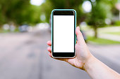 blank space on phone isolated while walking in street