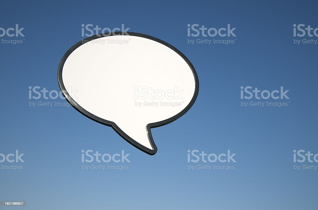Blank Speech Bubble Outdoors in Blue Sky royalty-free stock photo