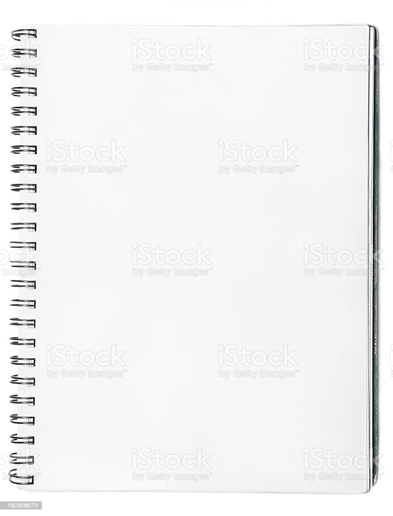 Blank spiral notebook on a white background stock photo