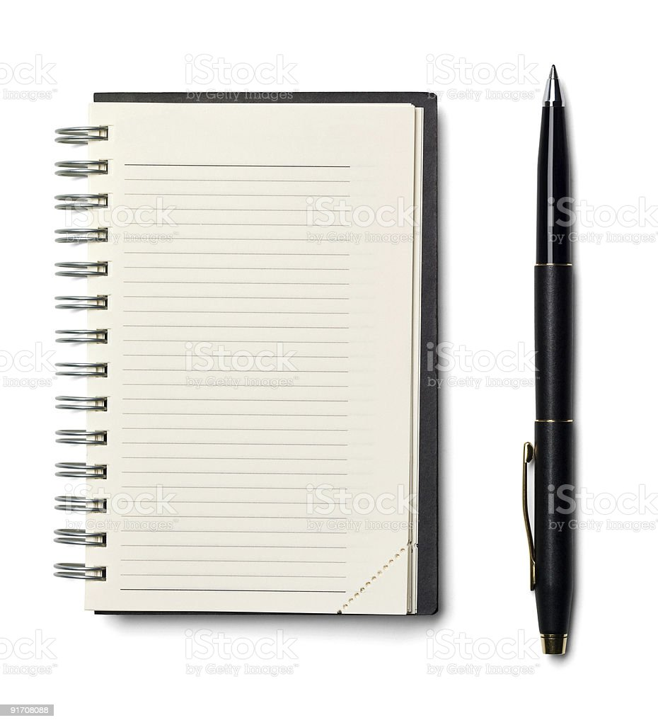 Blank spiral ruled notebook planner with a black pen stock photo