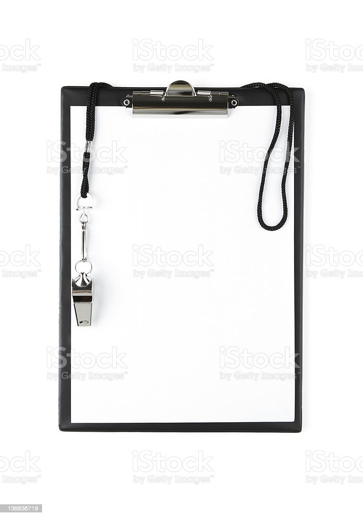 Blank sports clipboard on white background stock photo