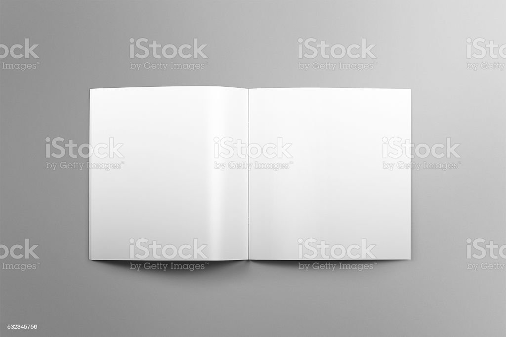 Blank square brochure mockup on light grey background. stock photo