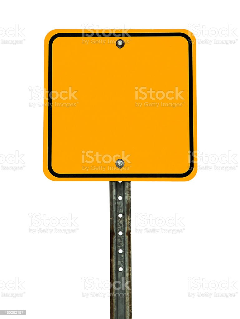 Blank Square Caution Sign stock photo