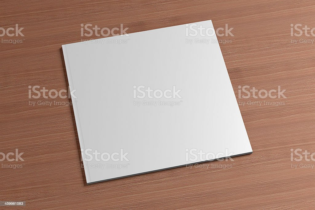Blank square Magazine on the wooden Background stock photo