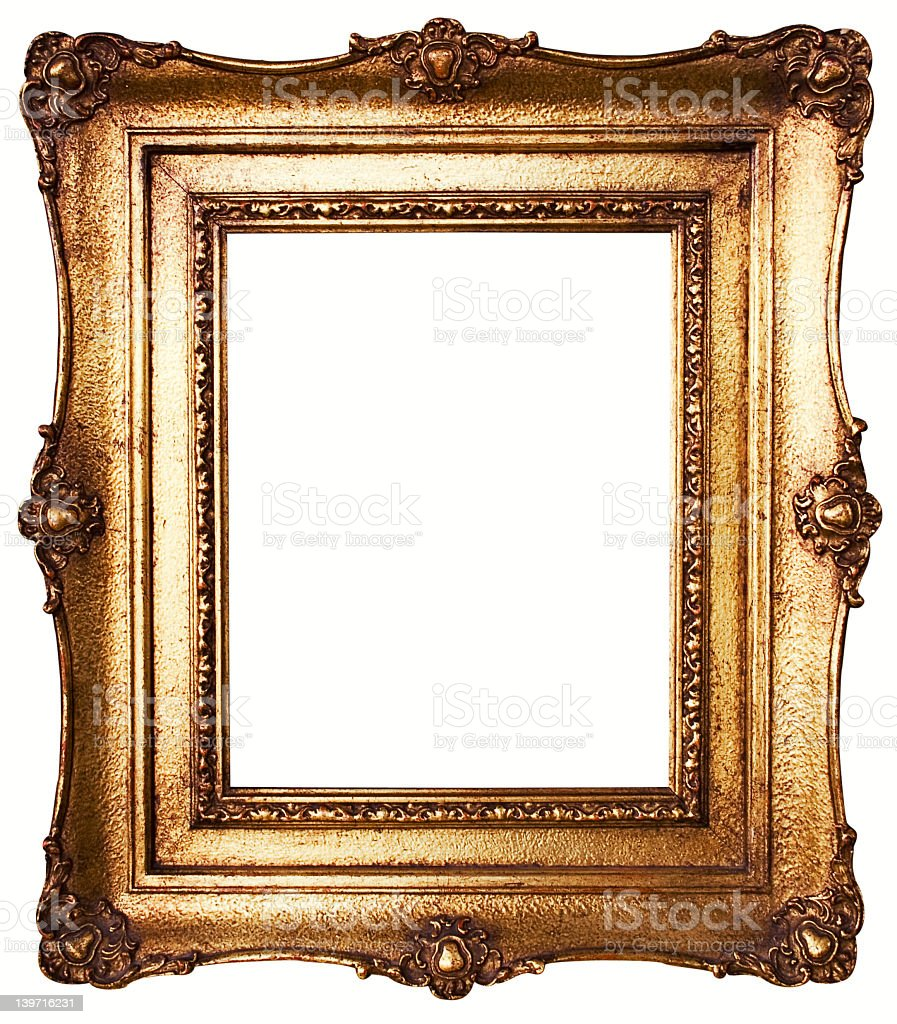 Blank square picture frame with gold border stock photo