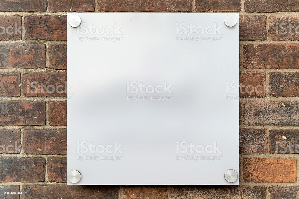A modern blank white plastic sign with space for your own text or...