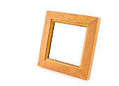 Blank Square wood frame in perspective view on isolated