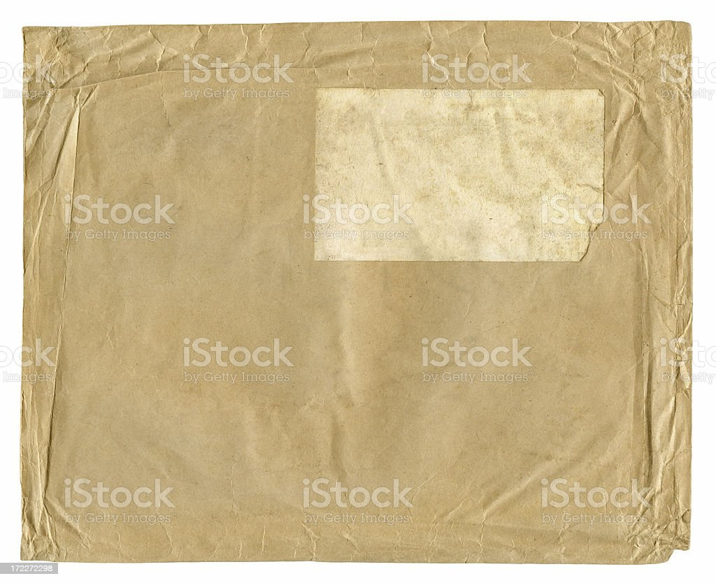 blank stained crumpled vintage envelope royalty-free stock photo