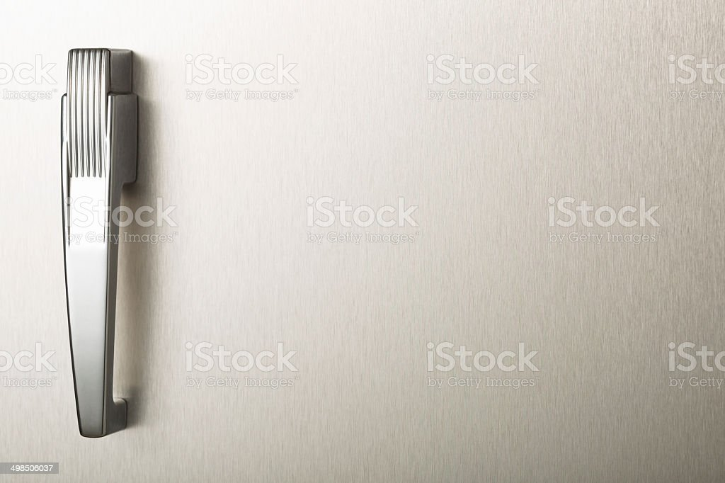 Blank stainless steel retro refrigerator door stock photo