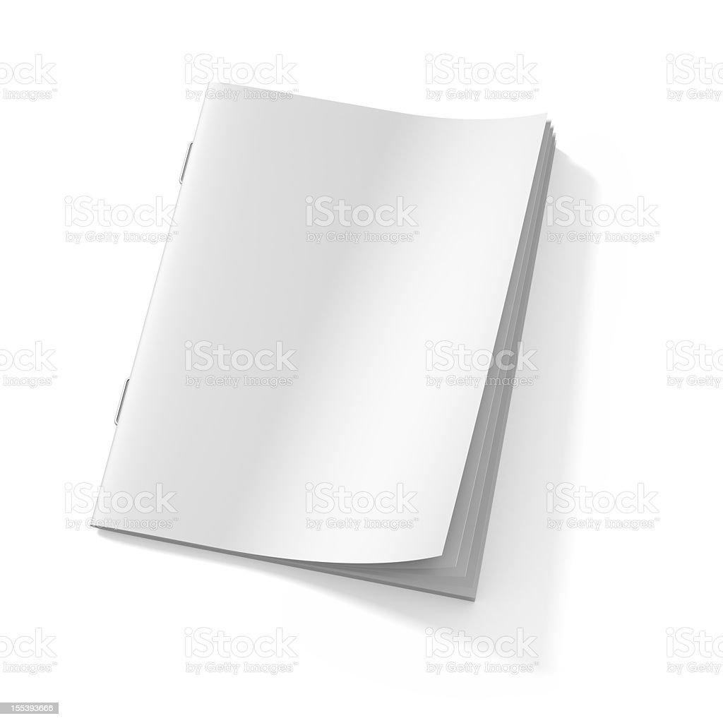 Blank stapled booklet on white paper stock photo