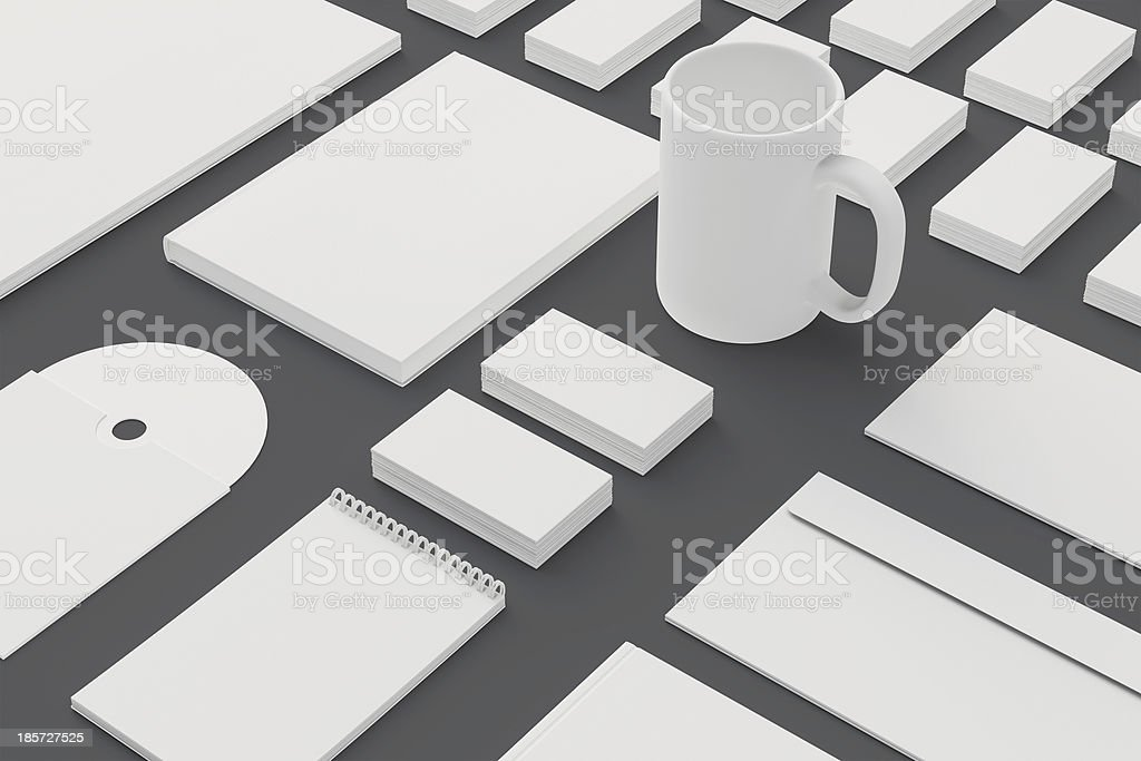 Blank Stationery and Corporate ID Template isolated on grey royalty-free stock photo