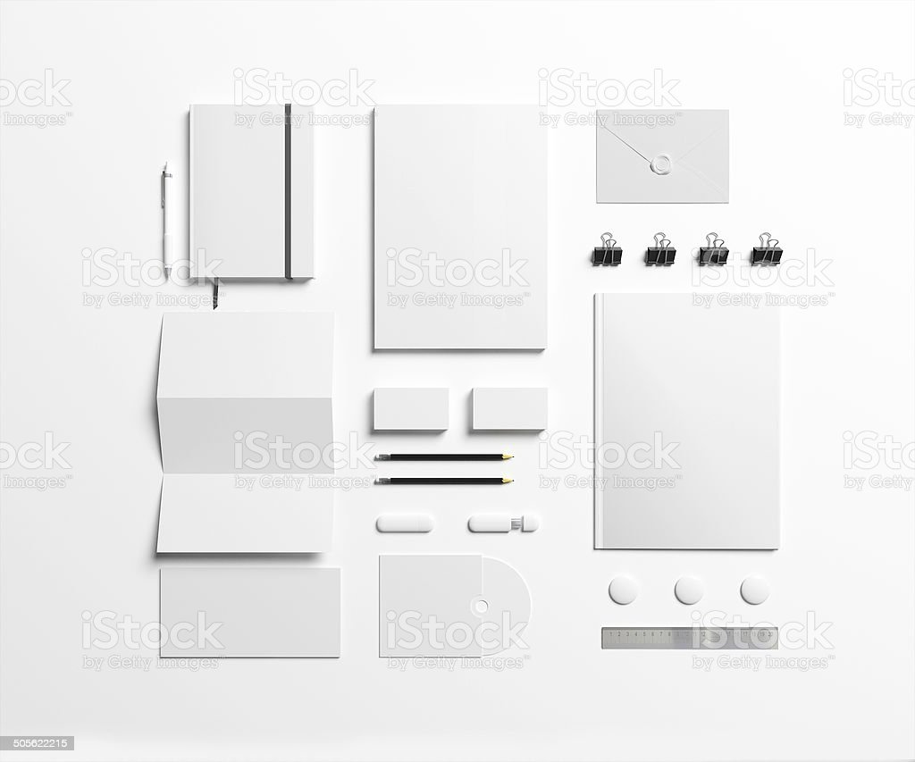 Blank stationery and various office supplies stock photo
