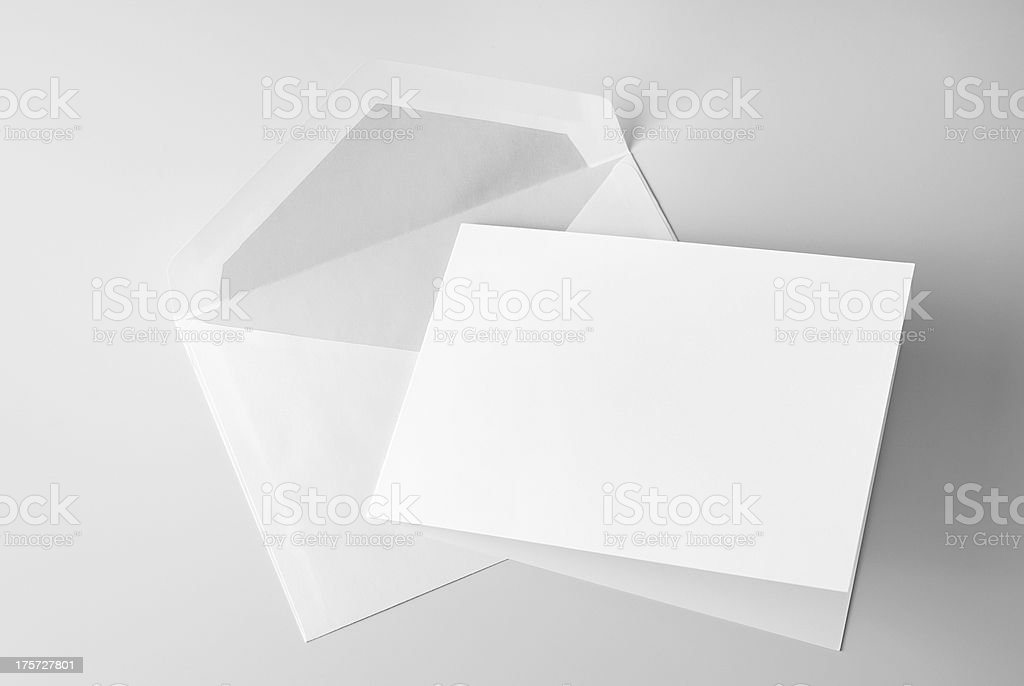 Blank stationery: card and envelope stock photo