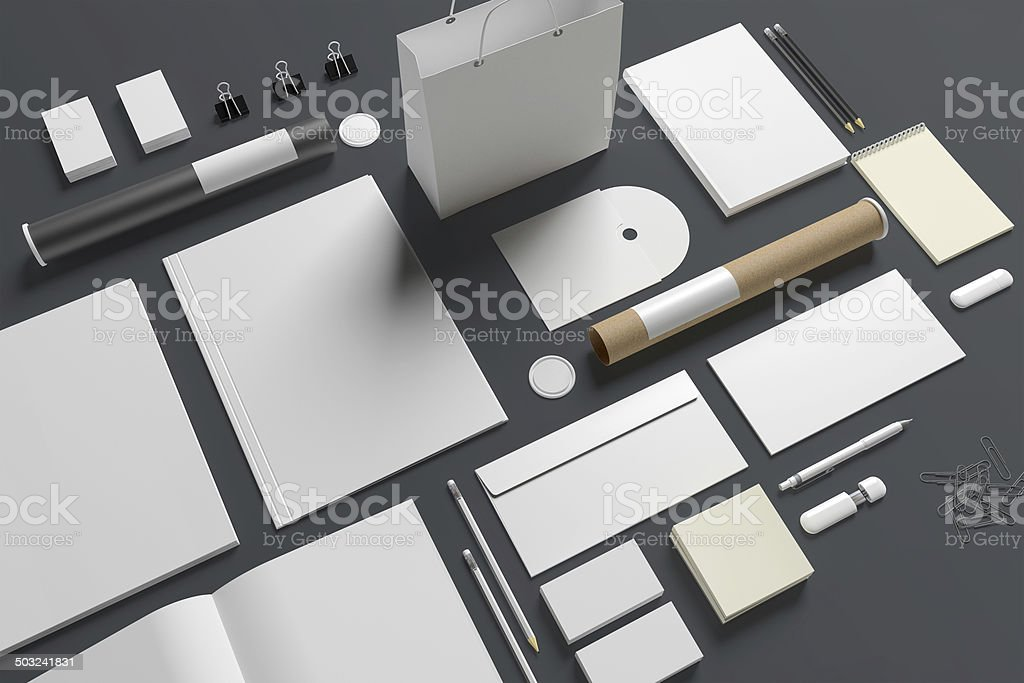 Blank stationery isolated on grey stock photo