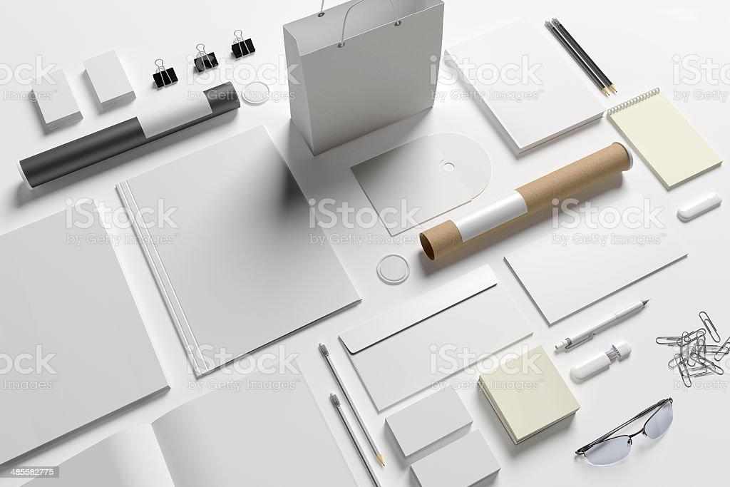 Blank stationery isolated on white stock photo