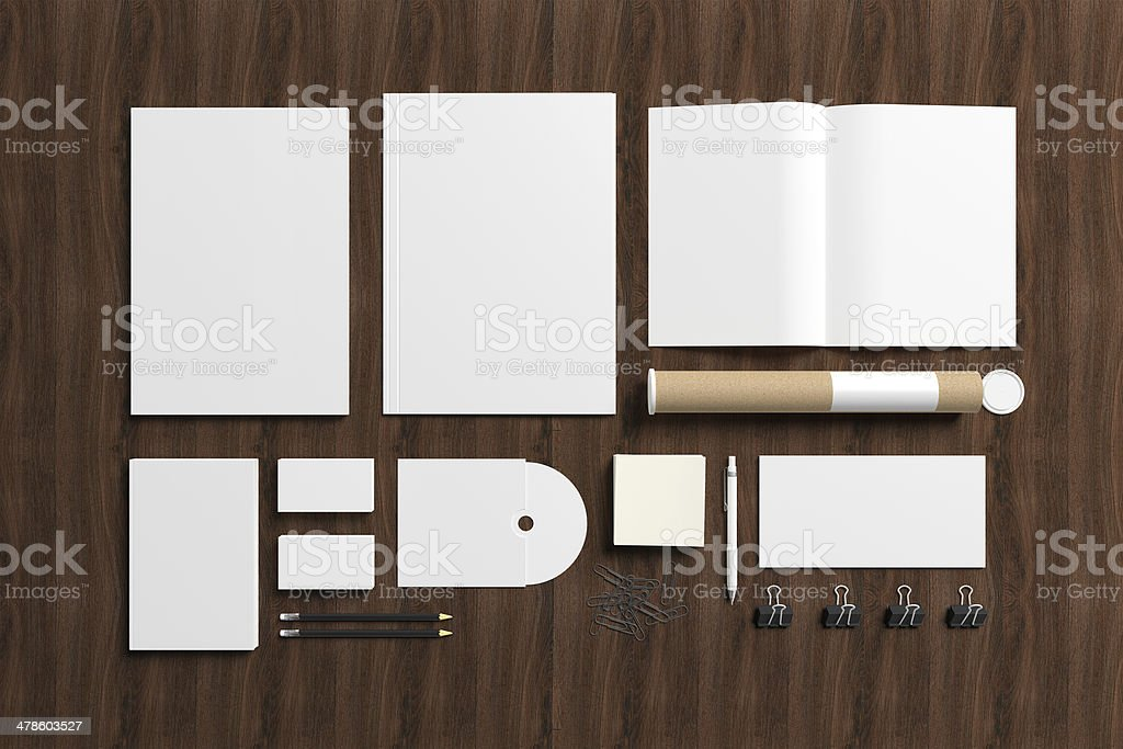 Blank stationery on wooden background stock photo