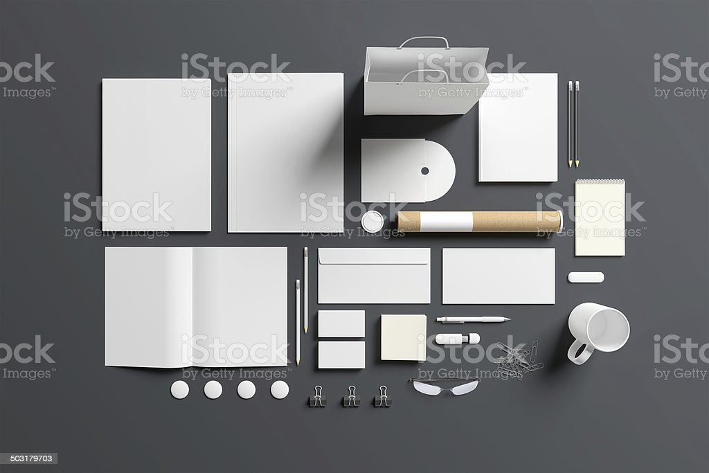 Blank stationery set isolated on grey stock photo
