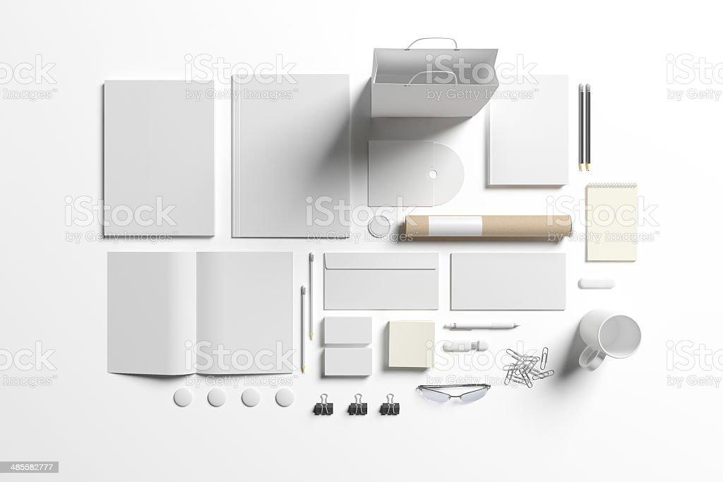 Blank stationery set stock photo