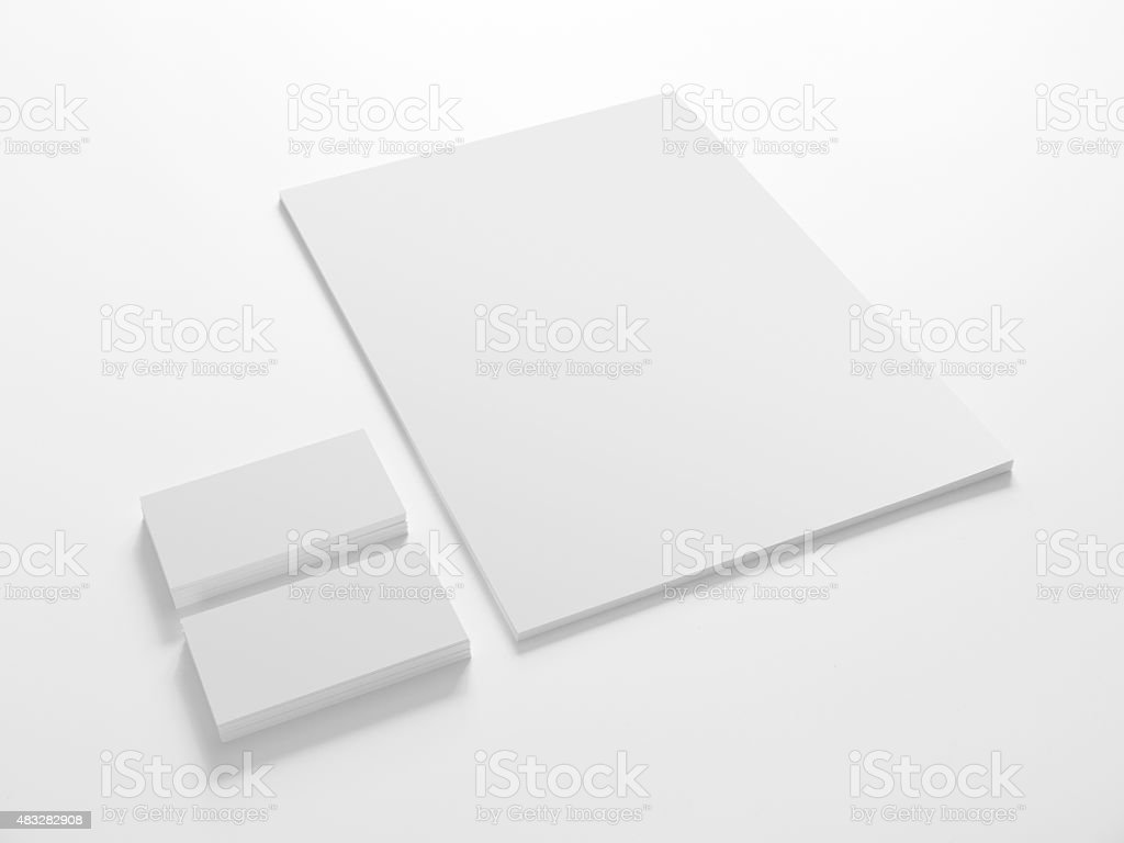 Blank stationery template with business cards. stock photo