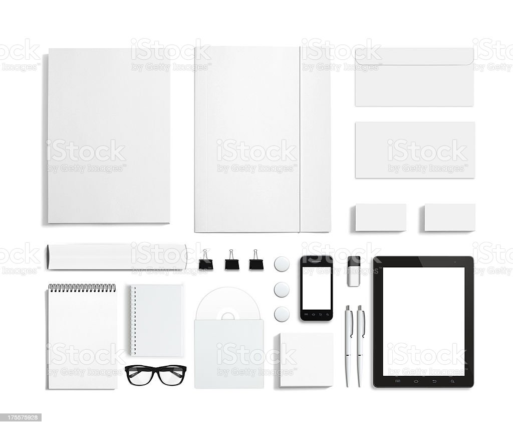 Blank stationery templates and black and white office items stock photo