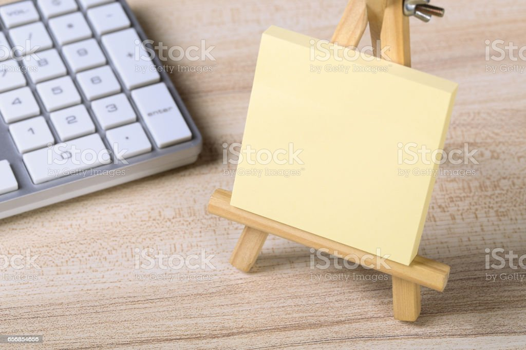 Blank Sticky Note With Keyboard stock photo