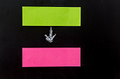 Blank sticky notes and chalk arrow with copyspace