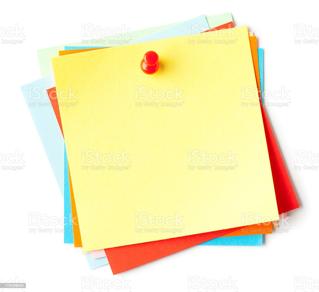 Blank sticky notes with a push pin stock photo