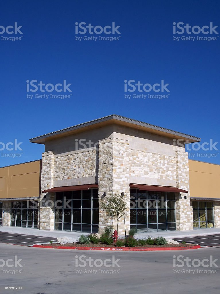 Blank Storefronts Corner Portrait stock photo