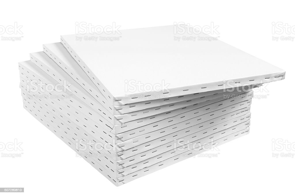 Blank streched canvas on wooden frame isolated on white stock photo
