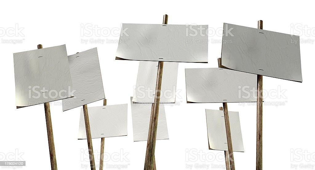 Blank Strikers Picket Plackards stock photo