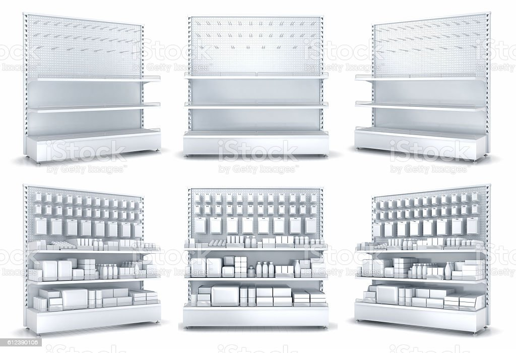 Blank supermarket products on shelves and pegboard. Empy shelves and pegboard. stock photo