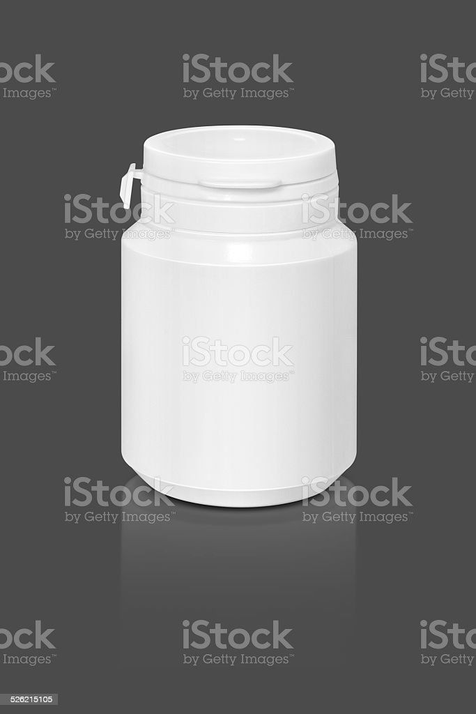 blank supplement bottle isolated on gray background stock photo