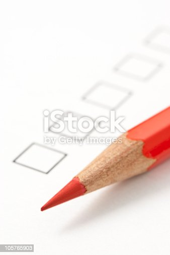 Blank Survey Box With Red Pencil Stock Photo   Istock