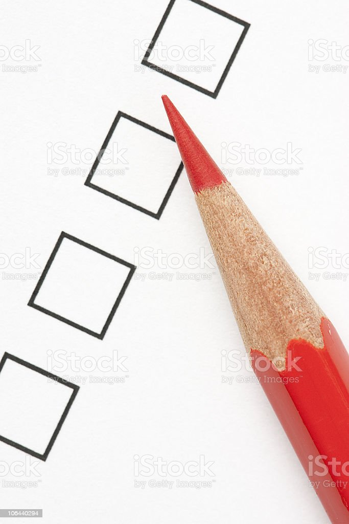 Blank Survey Box With Red Pencil Stock Photo 106440294 | Istock