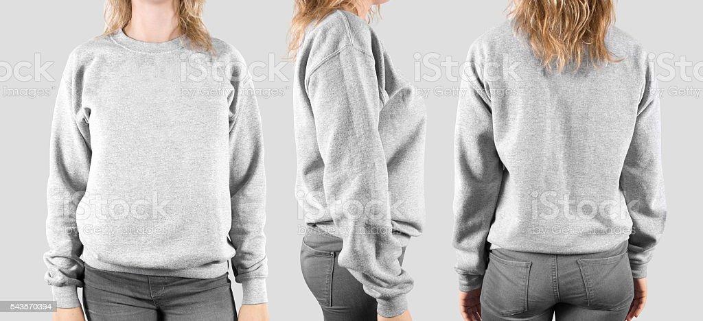 Blank sweatshirt mock up, front, back and profile, isolated. stock photo