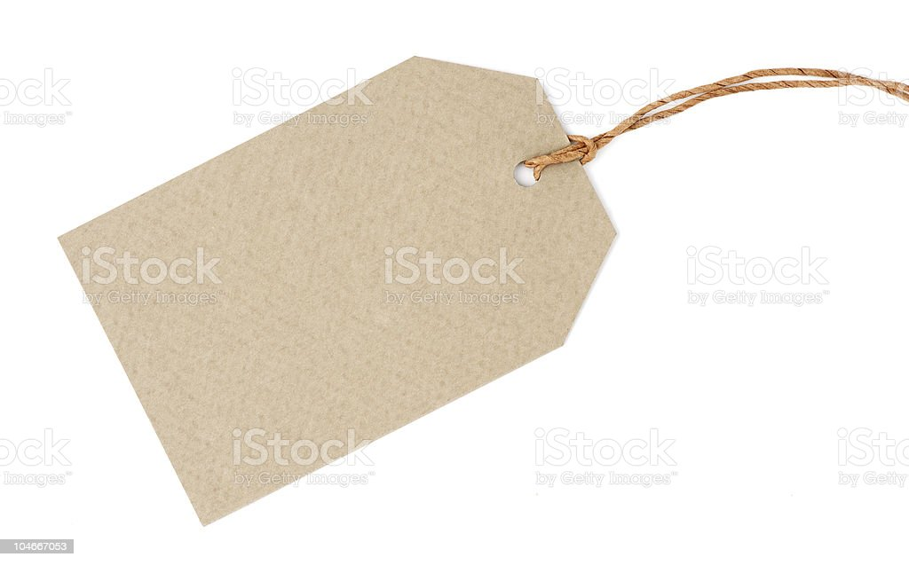 Blank tag isolated on white stock photo