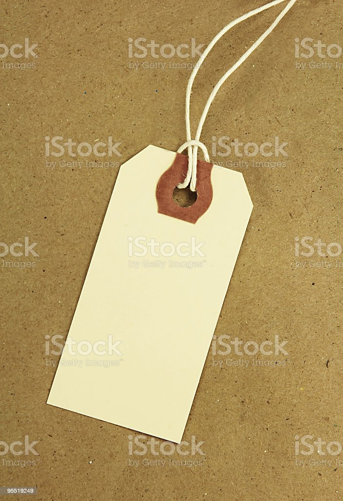 Blank Tag on Brown Paper royalty-free stock photo
