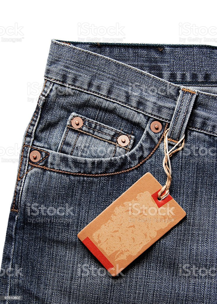 Blank tag on jeans stock photo