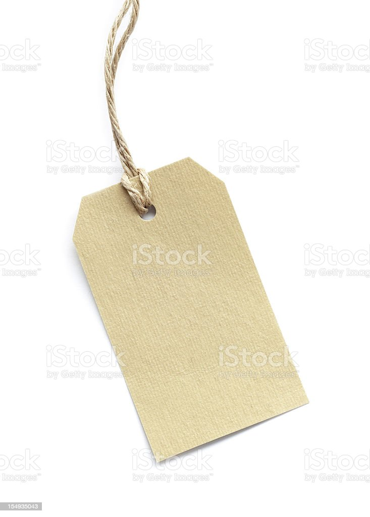 Blank tag tied with brown string on white stock photo