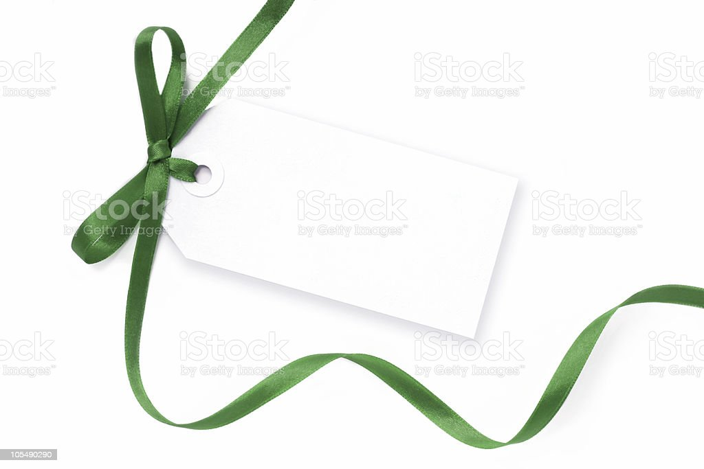 Blank Tag with Green Ribbon stock photo