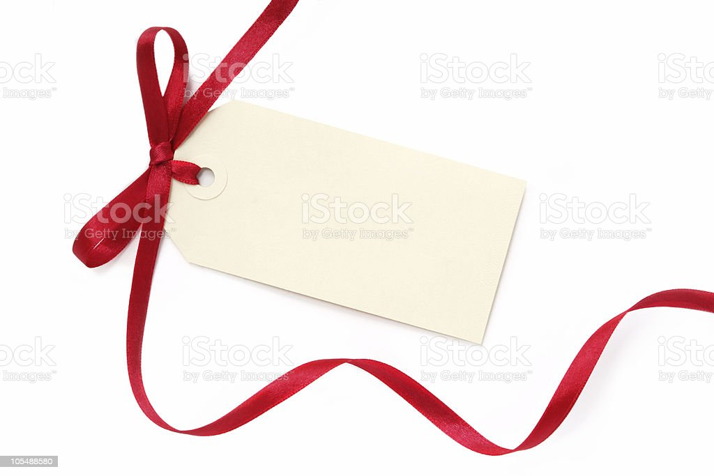 Blank Tag with Red Ribbon stock photo