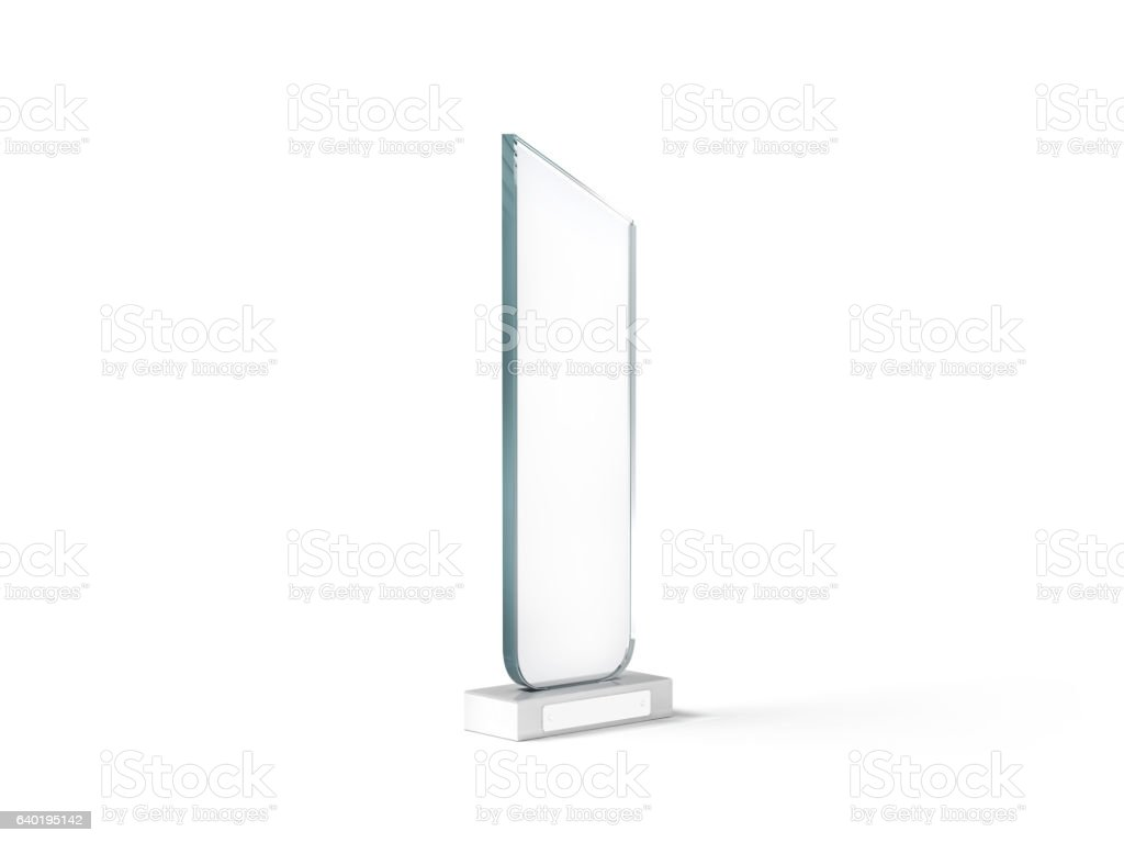 Blank tall glass trophy mockup, 3d rendering.. stock photo