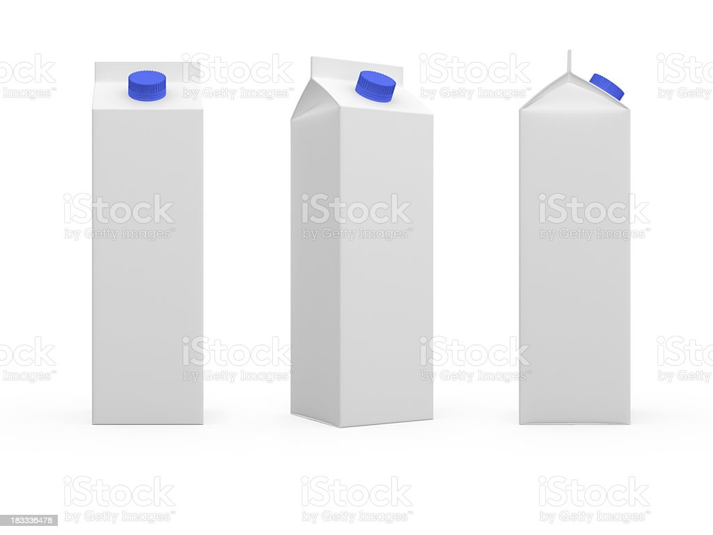 Blank tall white milk or juice cartons stock photo