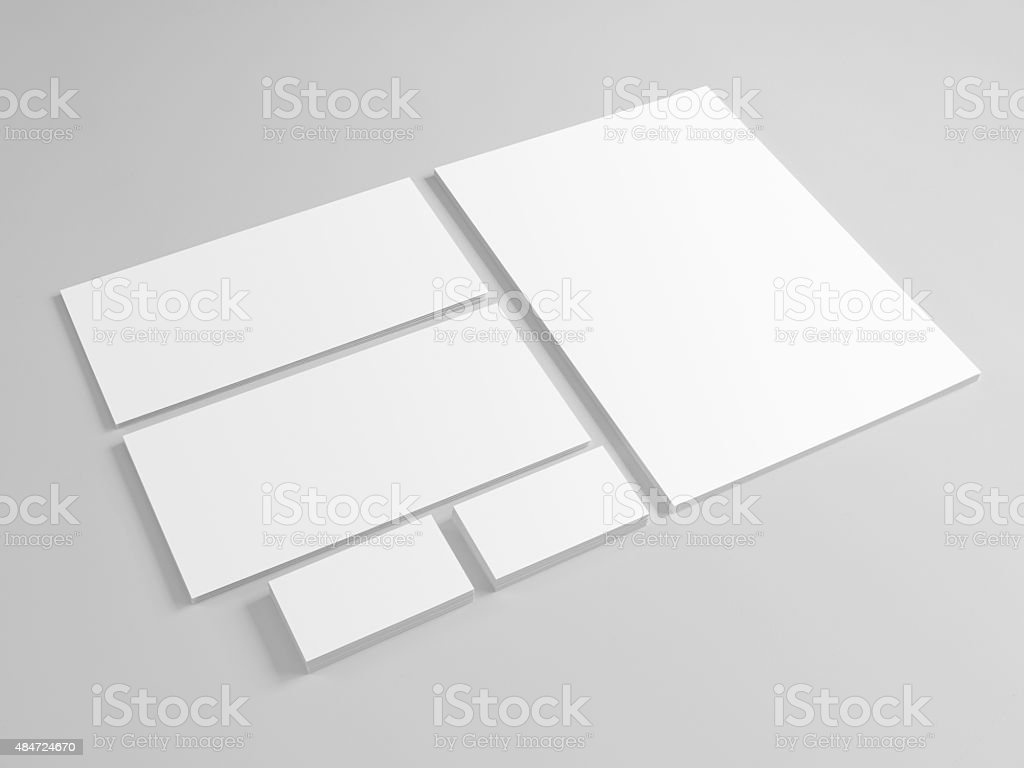 Blank template for branding identity on gray background stock photo
