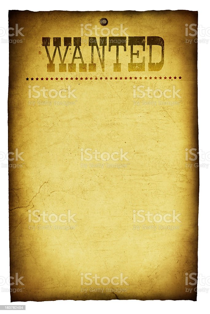 Blank Template of a Western Wanted Vintage Poster royalty-free stock photo