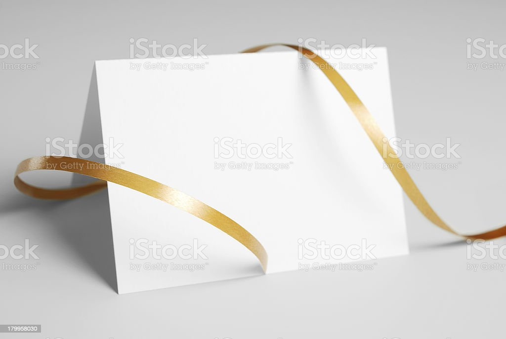 Blank thank you card with golden ribbon royalty-free stock photo