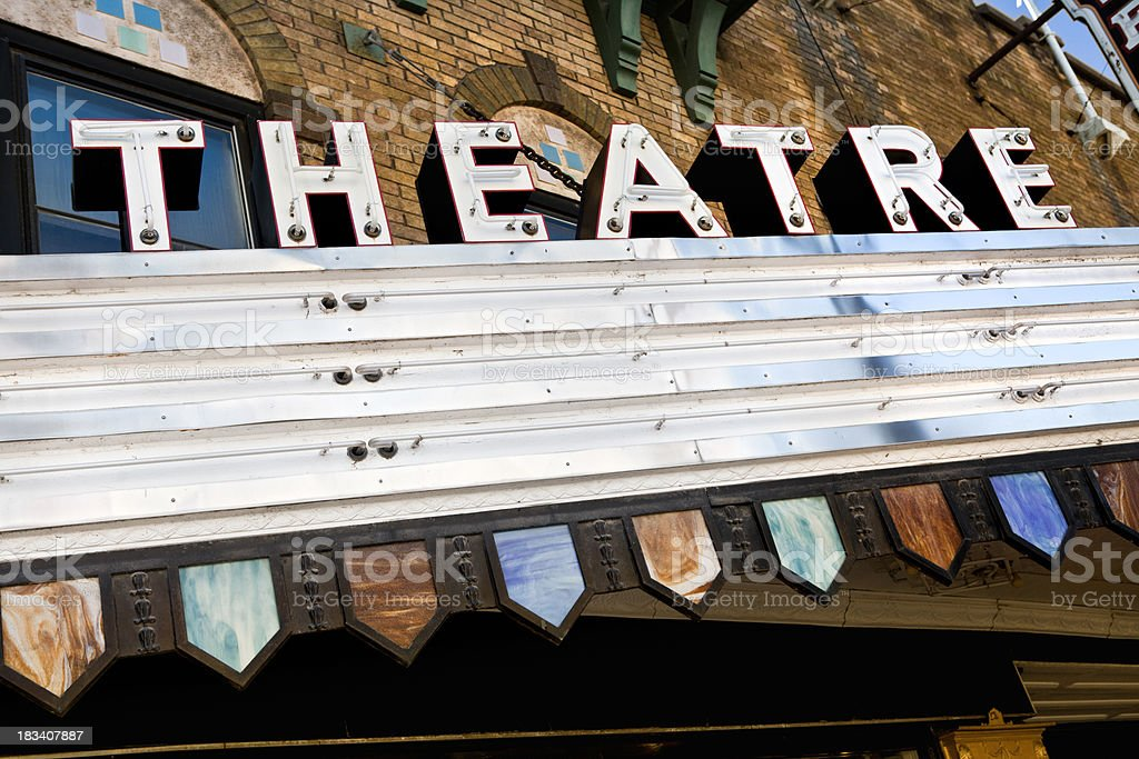 Blank theater marquee stock photo