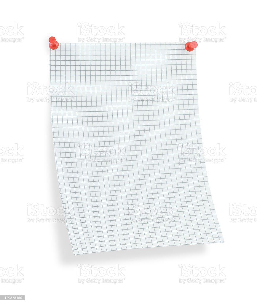 blank thumbtacked squared paper page with shadow stock photo