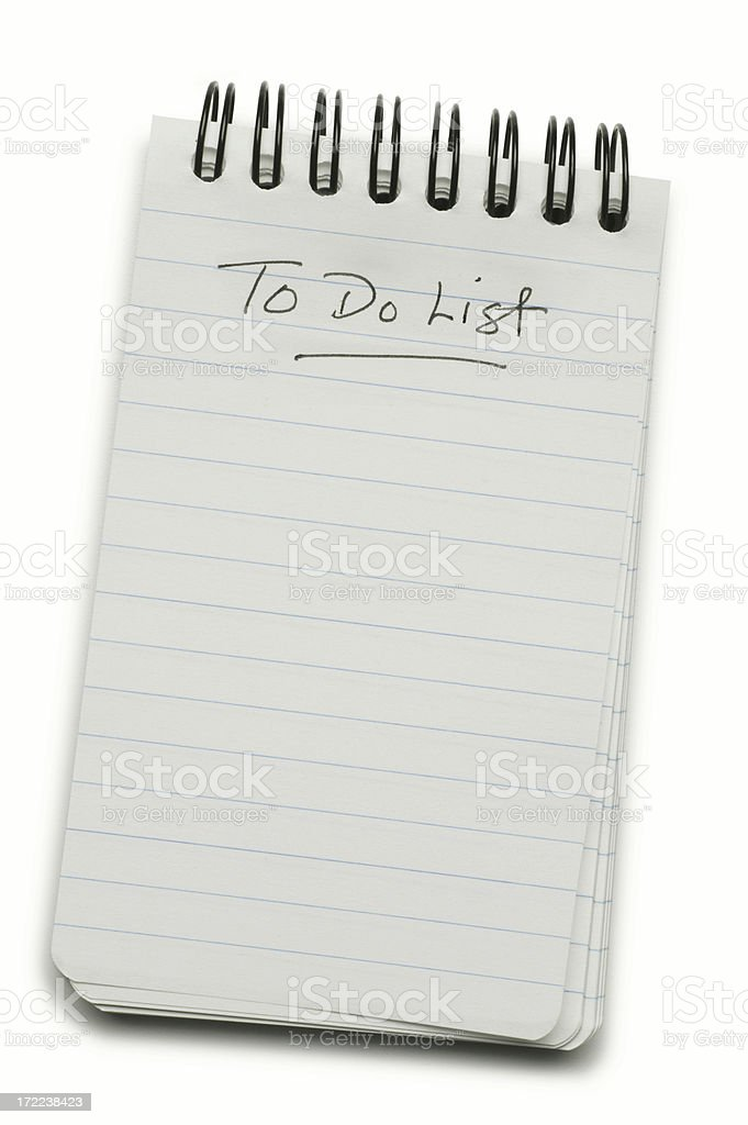 Blank To Do List Isolated On White Background stock photo