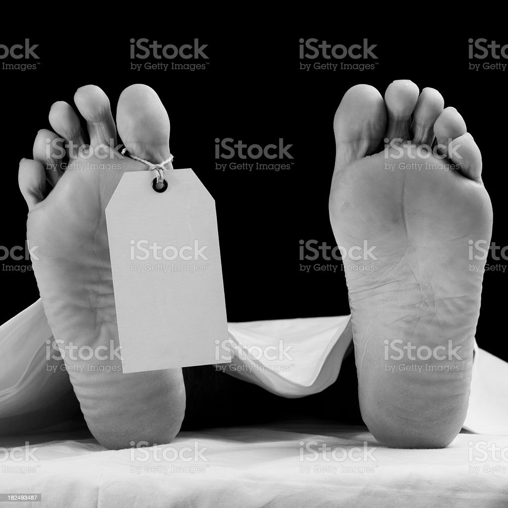 Blank Toe Tag On Dead Body's Leg,Black And White stock photo